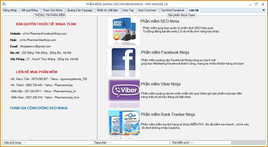 hình ảnh về phần mềm quảng cáo facebook Ninja