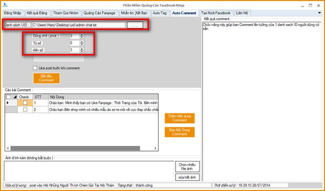 phan mem auto comment len tuong Phần mềm Ninja  Hướng dẫn Auto comment vào tường của UID Khách hàng