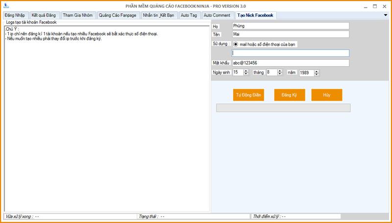 phần mềm tự động đăng ký nick Facebook