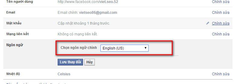 hướng dẫn chuyển facebook sang ngôn ngữ tiếng anh