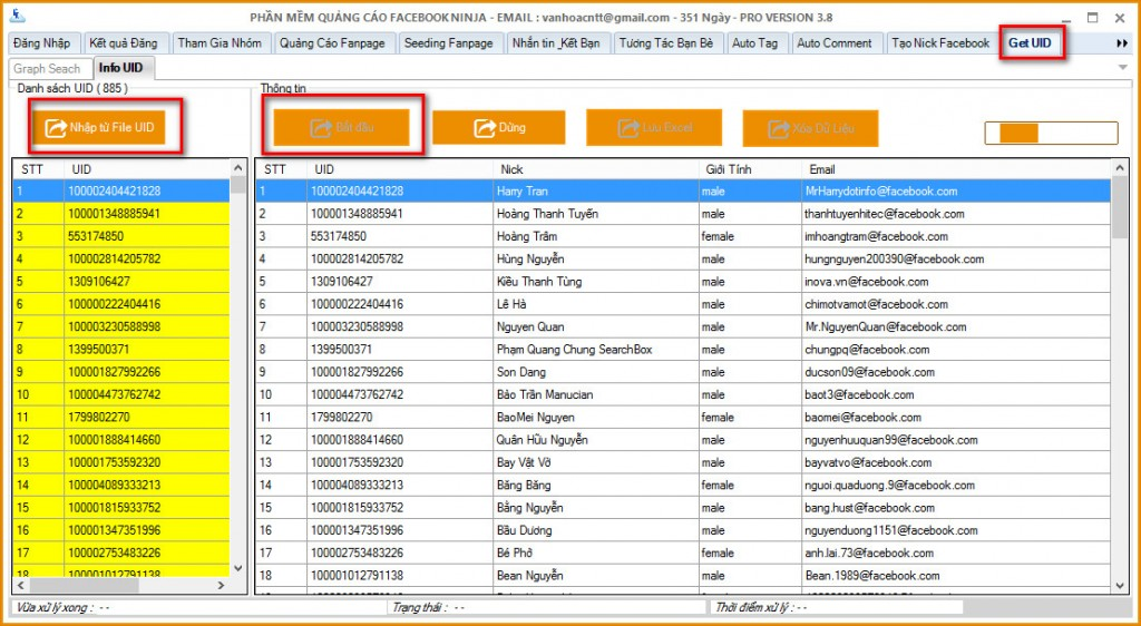 huong dan chuyen uid ve facebook 1024x562 Phần mềm Ninja  Chuyển UID sang dạng Email