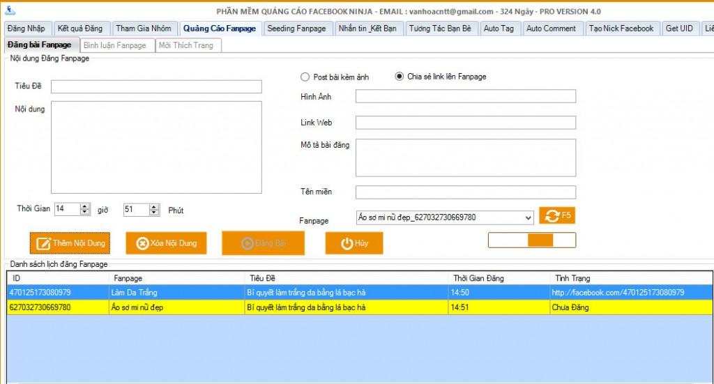 phần mềm lên lịch đăng bài lên fanpage