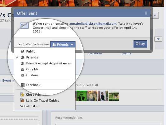 Facebook đã triển khai Offer