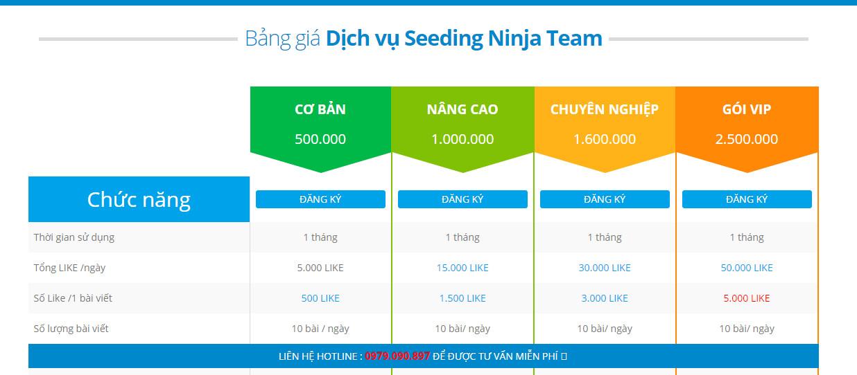 Bảng giá dịch vụ Seeding Fanpage