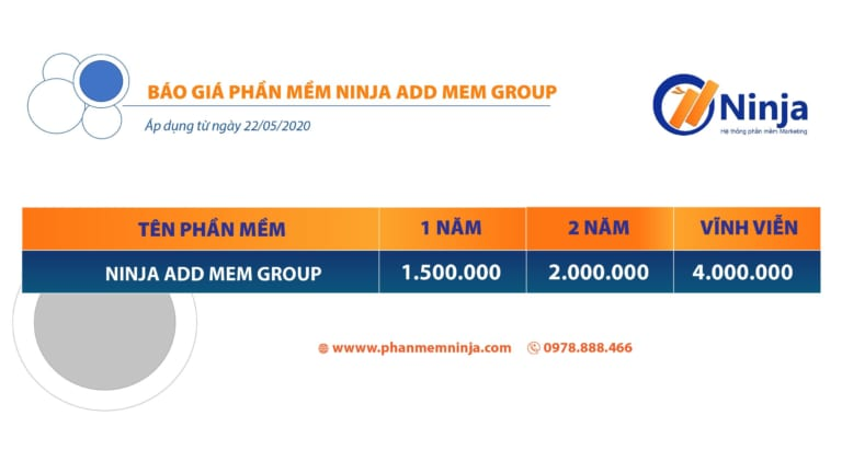 bảng giá ninja add mem group