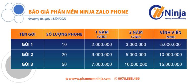 bao gia pm Ninja Zalo Phone